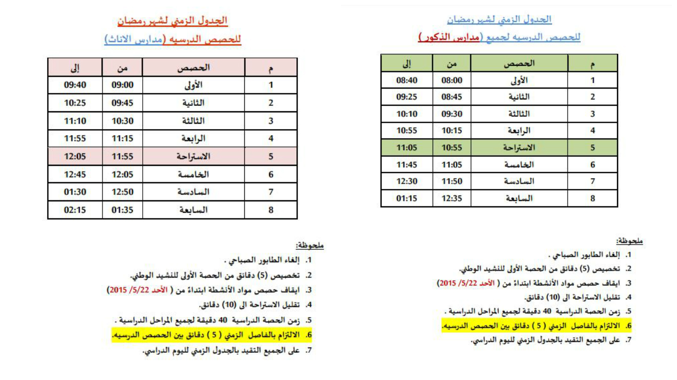 جدول المدارس