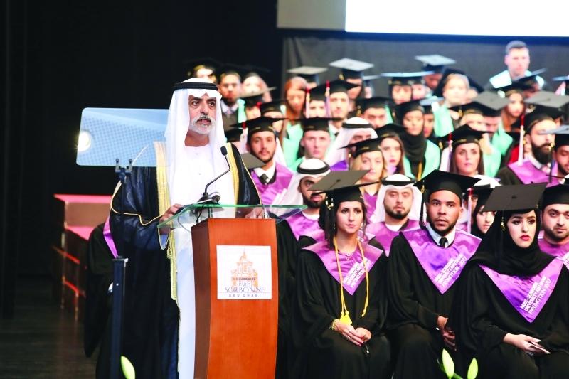 نهيان بن مبارك يشهد تخريج 296 طالباً في «السوربون-أبوظبي»